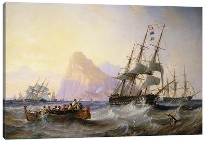 British Men O' War off Gibraltar, 1855  Canvas Art Print