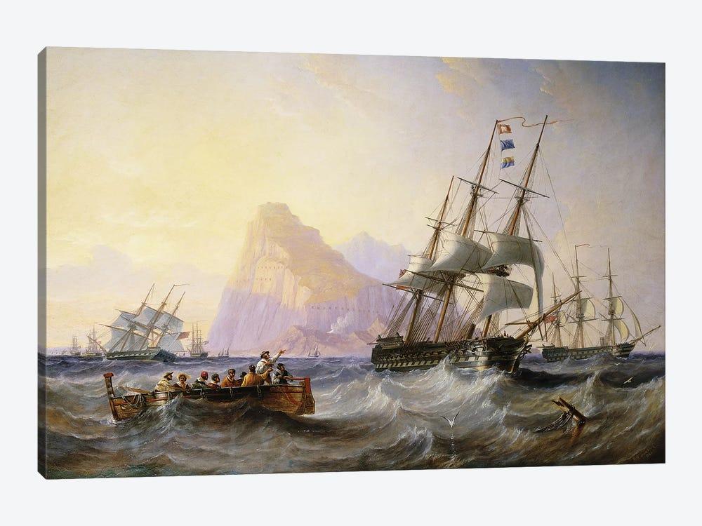 British Men O' War off Gibraltar, 1855  by John Wilson Carmichael 1-piece Canvas Art Print