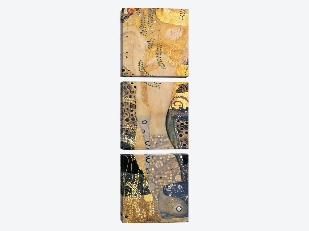 Water Serpents I, 1904-07 by Gustav Klimt 3-piece Canvas Wall Art
