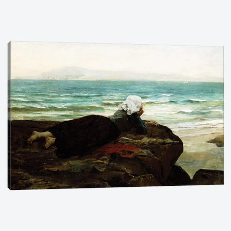 Looking out to Sea,  Canvas Print #BMN10887} by Jules Breton Canvas Art