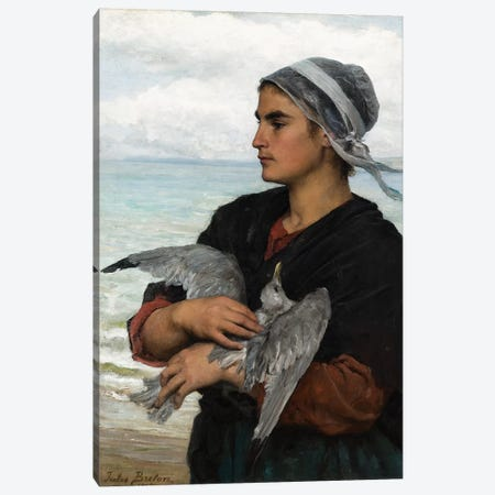 The Wounded Sea Gull, 1878  Canvas Print #BMN10890} by Jules Breton Canvas Wall Art