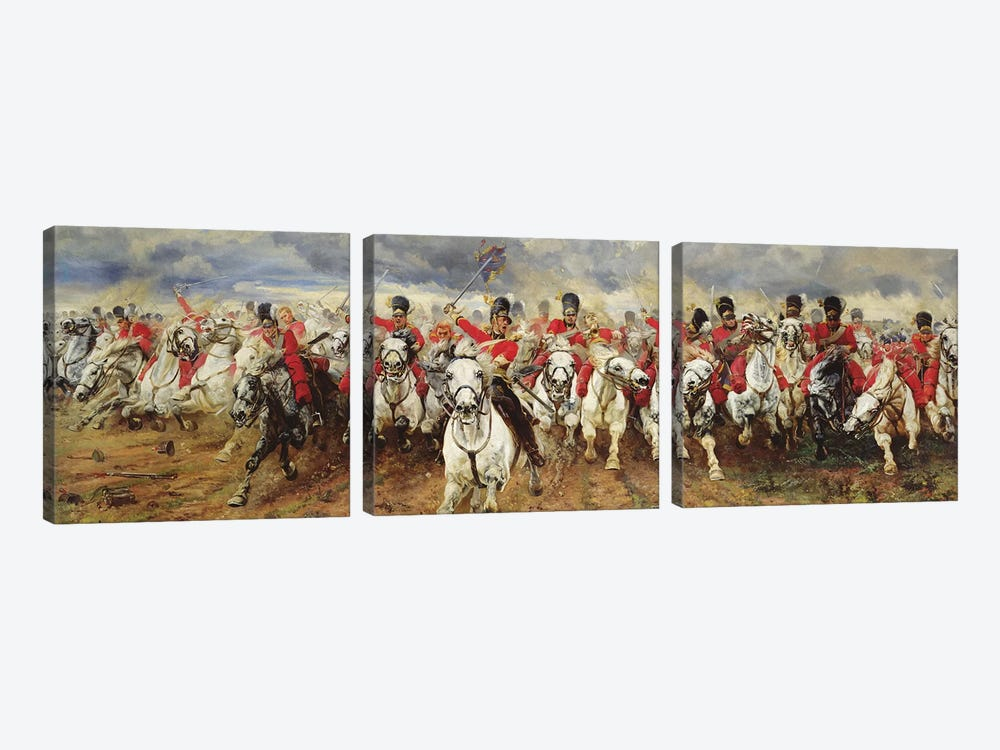 Scotland For Ever! 1881  by Lady Butler 3-piece Canvas Artwork