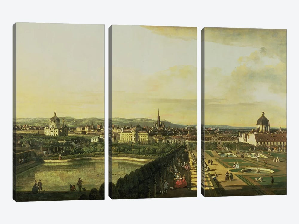 The Belvedere from Gesehen, Vienna by Bernardo Bellotto 3-piece Art Print