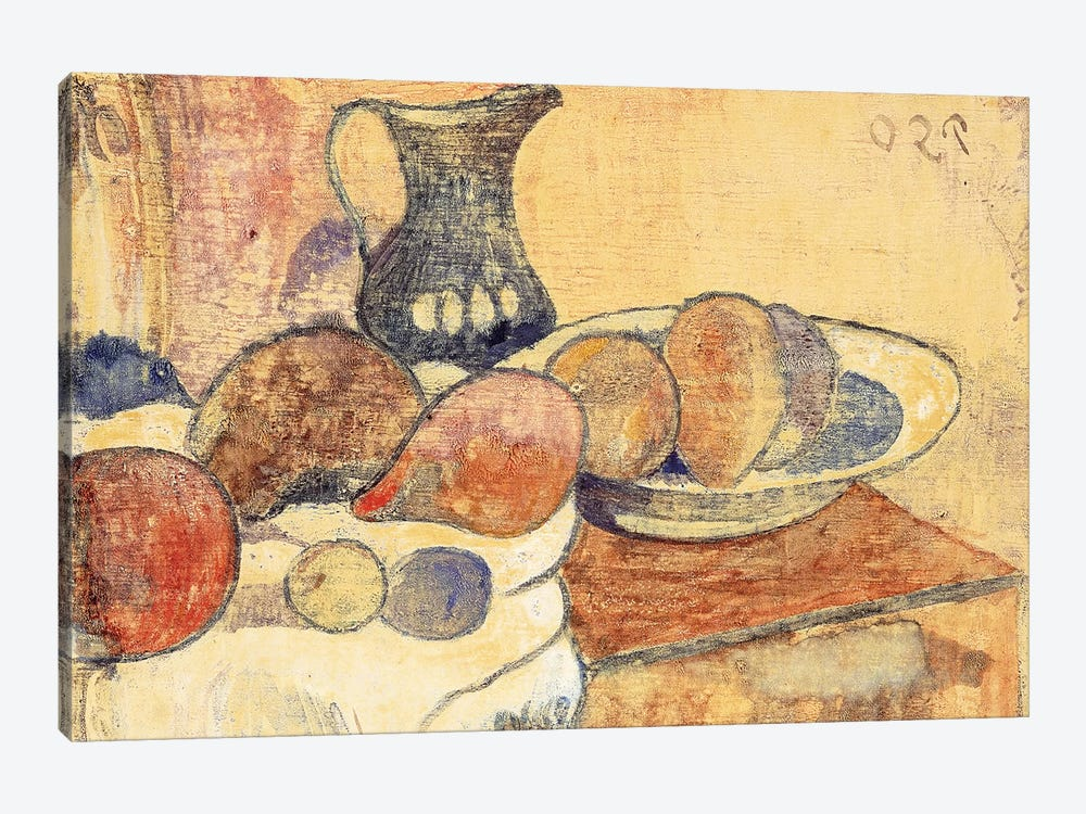 Still life with a Pitcher and Fruit by Paul Gauguin 1-piece Art Print