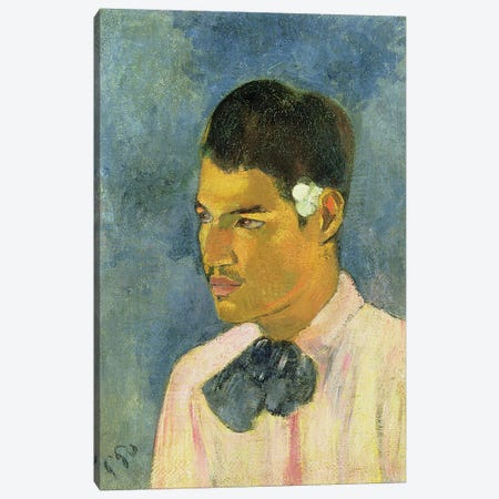 Young Man with a Flower Behind his Ear, 1891  Canvas Print #BMN10931} by Paul Gauguin Canvas Art Print