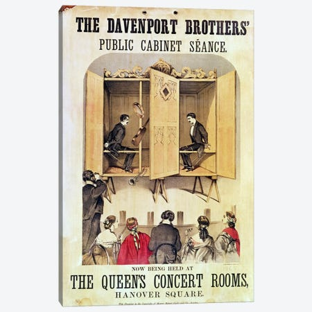The Davenport Brothers Public Cabinet Seance Advertisement, 1865 Canvas Print #BMN1093} by Unknown Artist Canvas Print