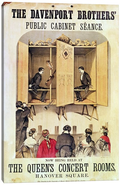 Poster advertising a psychic performance by the Davenport Brothers, 1865 Canvas Print #BMN1093