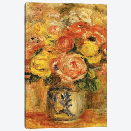 Flowers in a Blue and White Vase Canvas Print #BMN10941} by Pierre-Auguste Renoir Canvas Wall Art