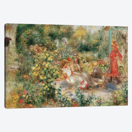 Girls in a Garden in Montmartre Canvas Print #BMN10947} by Pierre-Auguste Renoir Art Print