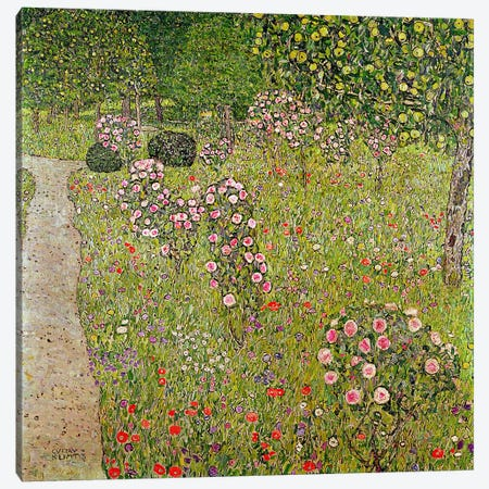 Orchard with roses  Canvas Print #BMN1094} by Gustav Klimt Canvas Artwork