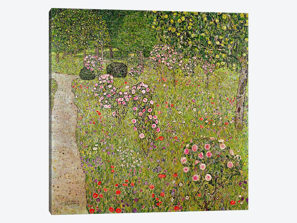 Orchard with roses by Gustav Klimt 1-piece Canvas Wall Art