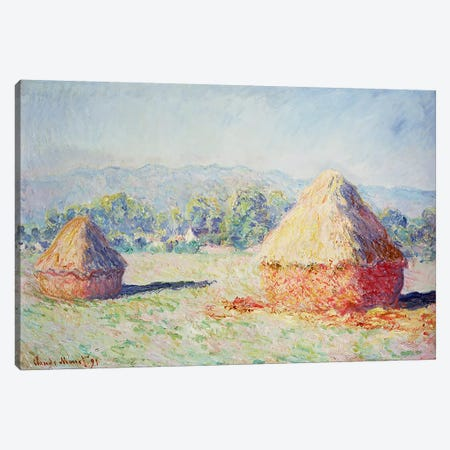 Haystacks in the Sun, Morning Effect, 1891 Canvas Print #BMN1095} by Claude Monet Canvas Artwork