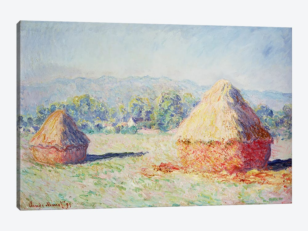 Haystacks in the Sun, Morning Effect, 1891 by Claude Monet 1-piece Canvas Art Print
