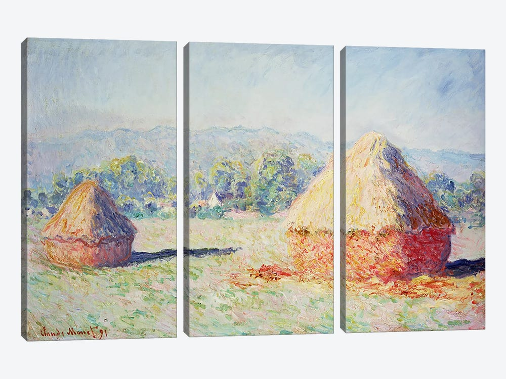Haystacks in the Sun, Morning Effect, 1891 by Claude Monet 3-piece Art Print