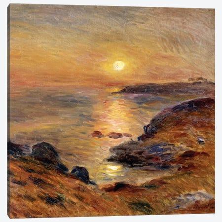 The Setting of the Sun at Douarnenez; Couche de Soleil a Douarnenez, 1883  Canvas Print #BMN10960} by Pierre-Auguste Renoir Canvas Wall Art