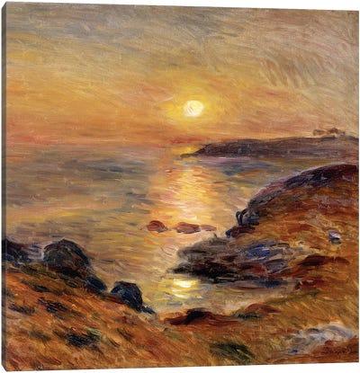 The Setting of the Sun at Douarnenez; Couche de Soleil a Douarnenez, 1883  Canvas Art Print