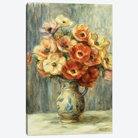 Vase d'Anemones,  Canvas Print #BMN10965} by Pierre-Auguste Renoir Canvas Art Print