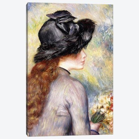 Young Girl holding a Bouquet of Tulips Canvas Print #BMN10968} by Pierre-Auguste Renoir Canvas Wall Art