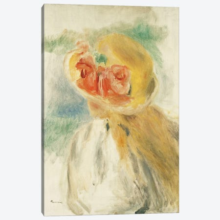 Young Girl with Flowers in her Hat Canvas Print #BMN10969} by Pierre-Auguste Renoir Canvas Artwork