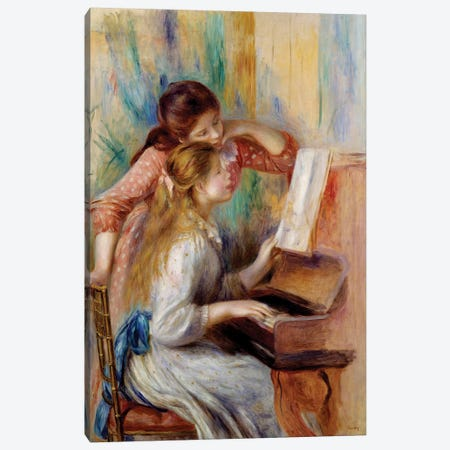 Young girls at the piano Preparatory study Canvas Print #BMN10970} by Pierre-Auguste Renoir Canvas Art Print