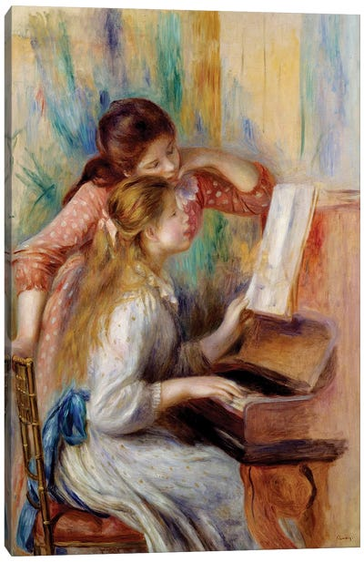 Young girls at the piano Preparatory study Canvas Art Print