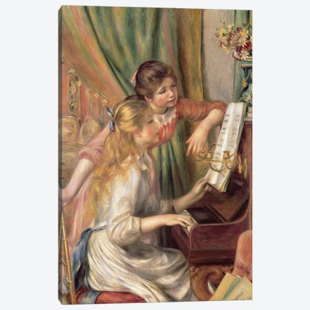 Young Girls at the Piano, 1892  Canvas Print #BMN10972} by Pierre-Auguste Renoir Canvas Art Print