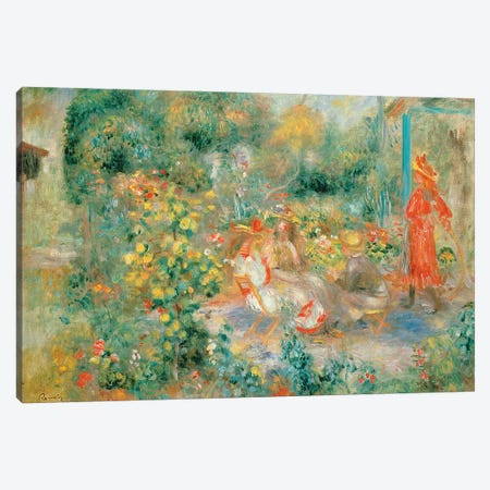 Young Girls in the Garden at Montmartre, 1893-95 Canvas Print #BMN10973} by Pierre-Auguste Renoir Canvas Print