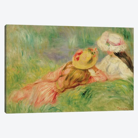 Young Girls on the River Bank  Canvas Print #BMN10974} by Pierre-Auguste Renoir Canvas Wall Art