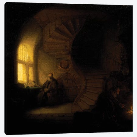 A philosopher in meditation  Canvas Print #BMN10975} by Rembrandt van Rijn Canvas Wall Art