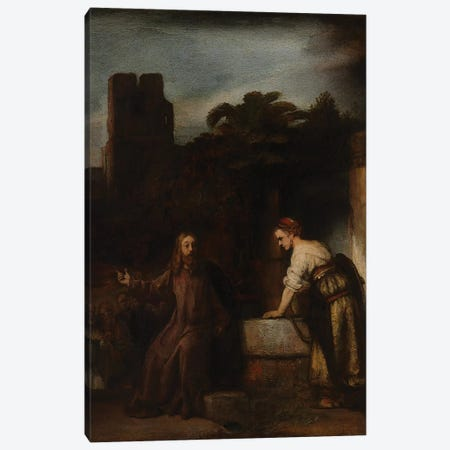 Christ and the Woman of Samaria, c.1655  Canvas Print #BMN10976} by Rembrandt van Rijn Canvas Art