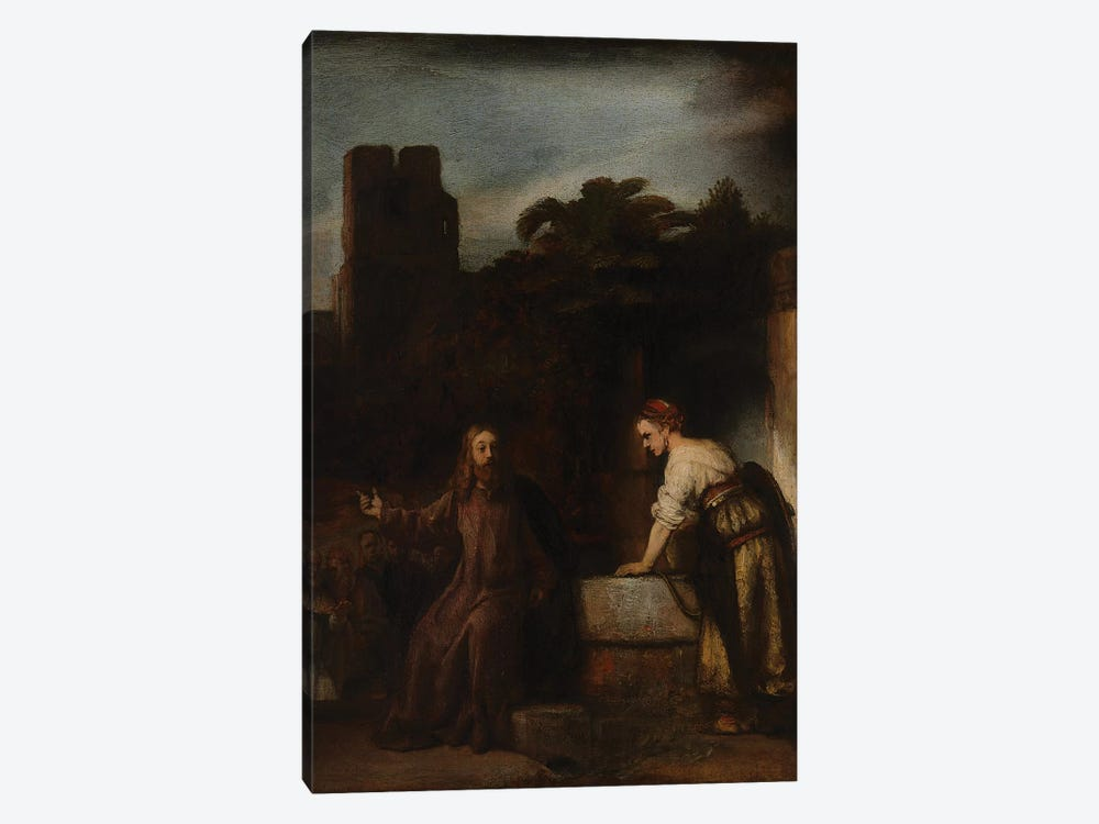 Christ and the Woman of Samaria, c.1655  by Rembrandt van Rijn 1-piece Canvas Print
