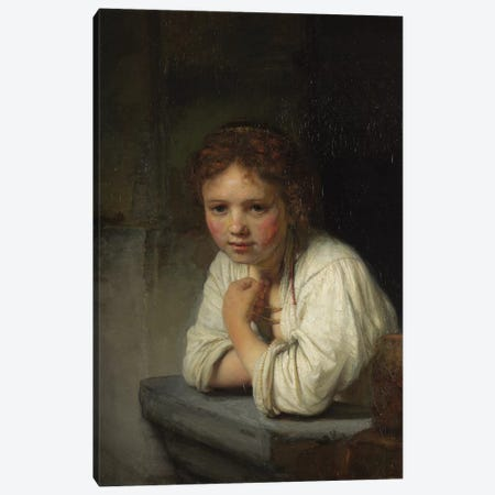 Girl at a Window, 1645  Canvas Print #BMN10979} by Rembrandt van Rijn Canvas Art Print