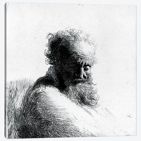 Head of an old man, 1631  Canvas Print #BMN10980} by Rembrandt van Rijn Canvas Wall Art