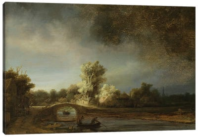 Landscape with a Stone Bridge, c.1638  Canvas Art Print