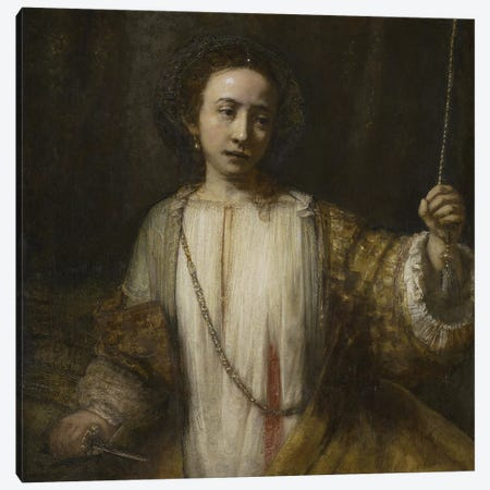 Lucretia, 1666  Canvas Print #BMN10982} by Rembrandt van Rijn Canvas Art
