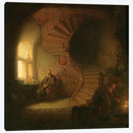 Philosopher in Meditation, 1632  Canvas Print #BMN10983} by Rembrandt van Rijn Canvas Art