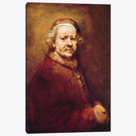 Self Portrait in at the Age of 63, 1669  Canvas Print #BMN10988} by Rembrandt van Rijn Canvas Wall Art