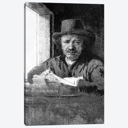 Self portrait while drawing, 1648  Canvas Print #BMN10989} by Rembrandt van Rijn Canvas Art