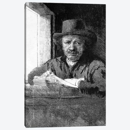 Self portrait while drawing, 1648  Canvas Print #BMN10989} by Rembrandt van Rijn Canvas Art