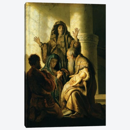Simeon and Hannah in the Temple, c.1627  Canvas Print #BMN10990} by Rembrandt van Rijn Art Print