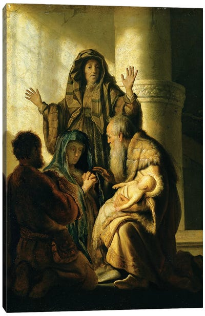 Simeon and Hannah in the Temple, c.1627  Canvas Art Print