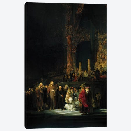 The Woman taken in Adultery, 1644  Canvas Print #BMN10996} by Rembrandt van Rijn Canvas Art