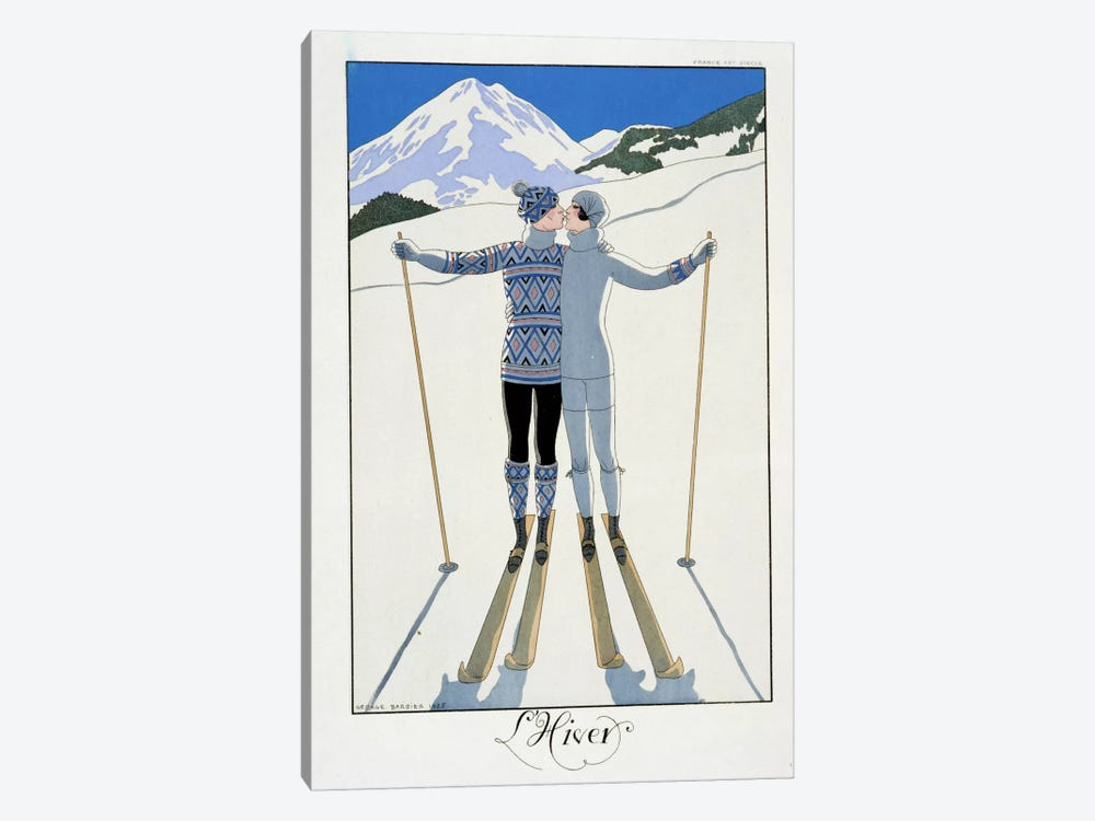 Winter: Lovers in the Snow, fashion plate from 'Twentieth Century France', 1925 (colour litho) by George Barbier 1-piece Canvas Print
