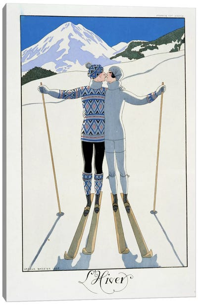 Winter: Lovers in the Snow, fashion plate from 'Twentieth Century France', 1925 (colour litho) Canvas Art Print