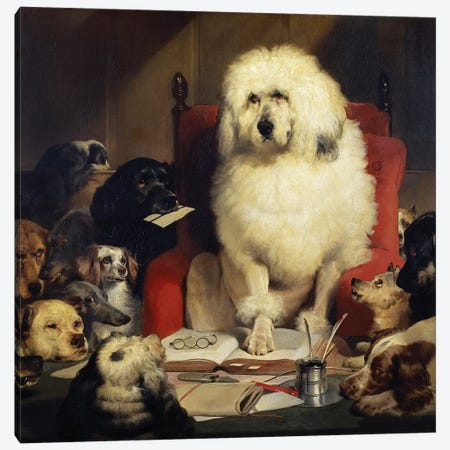 Trial by Jury, or Laying down the Law, c.1840  Canvas Print #BMN11009} by Sir Edwin Landseer Canvas Artwork