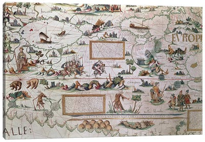 Add 24065 Detail of Siberia, the names appearing inverted to allow them to read from the border inwards towards the Equator, from a world map by Pierre Descaliers, 1550 Canvas Print #BMN1100