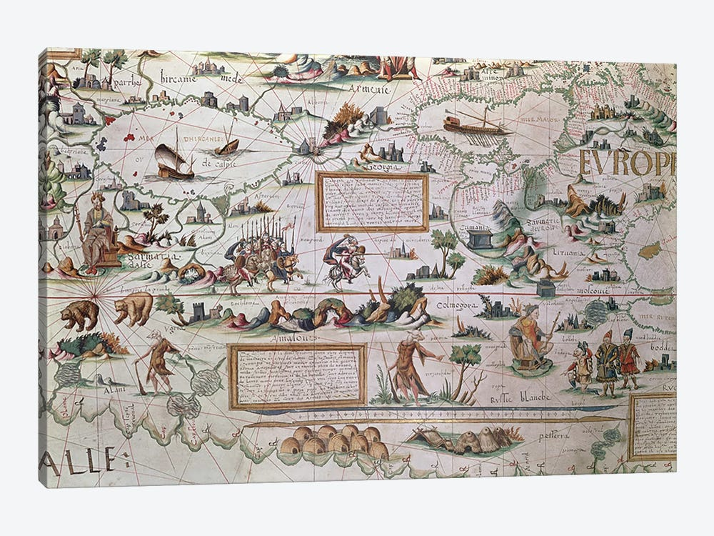 Detail Of Western Siberia, 1550 World Map by Pierre Desceliers 1-piece Canvas Wall Art