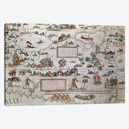 Detail Of Western Siberia, 1550 World Map Canvas Print #BMN1100} by Pierre Desceliers Canvas Art Print