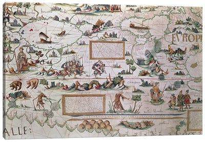 Detail Of Western Siberia, 1550 World Map Canvas Art Print