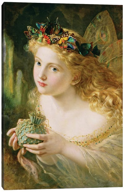 Fair Face Of Woman, Gently Suspending, With Butterflies, Flowers & Jewels Attending, Thus Your Fairy Is Made Of Beautiful Things Canvas Art Print